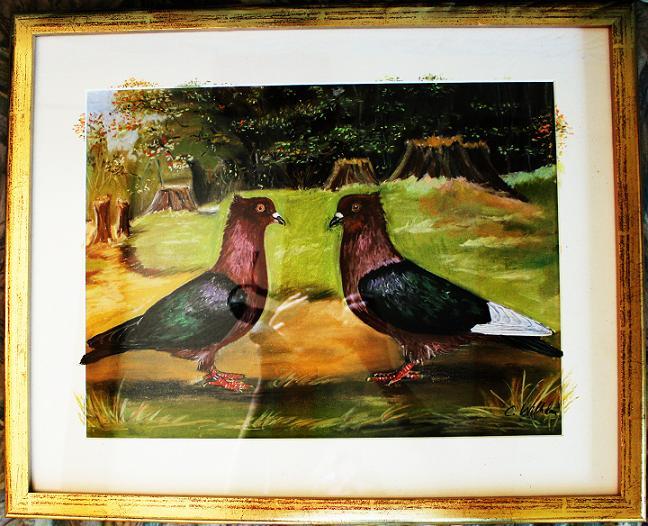 Gemälde-Tauben